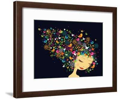 Beautiful Women - Abstract Hair Illustration-cienpies-Framed Art Print