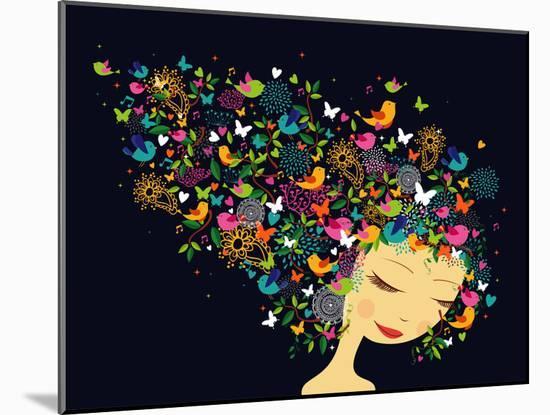 Beautiful Women - Abstract Hair Illustration-cienpies-Mounted Art Print