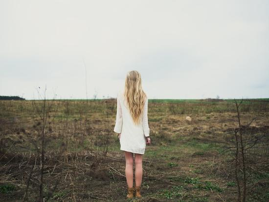 Beautiful Young Girl in the Spring Cloudy Day- Aleshyn_Andrei-Photographic Print
