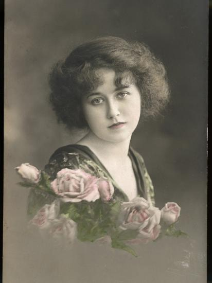 Beautiful Young Lady with Pink Roses--Photographic Print