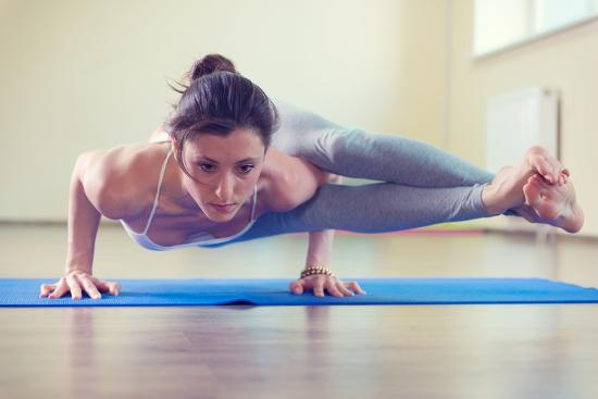 Beautiful Young Woman Yoga Workout in Gym-spass-Photographic Print