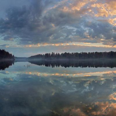 Beautifully Lit Clouds Drift over Lake Jean, Ricketts Glen State Park, Pennsylvania, Usa-Tim Fitzharris-Photographic Print