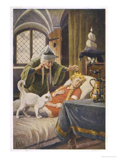 Beauty, and Everyone Else in the Palace Human or Animal, Fall Asleep Under the Witch's Spell-O. Kubel-Giclee Print