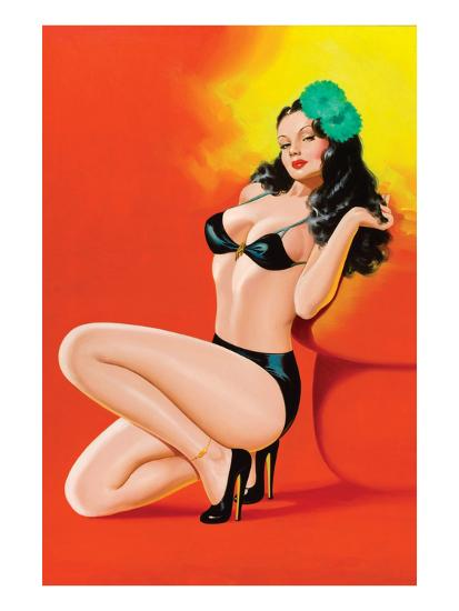 Beauty Magazine; Hot in Black-Peter Driben-Art Print