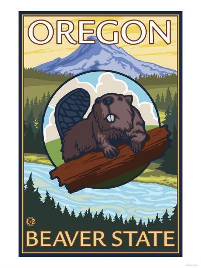 Beaver and Mount Hood Scene-Lantern Press-Art Print