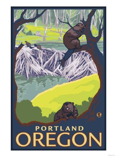 Beaver Family, Portland, Oregon-Lantern Press-Art Print