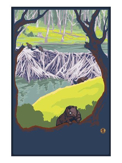 Beaver Family-Lantern Press-Art Print