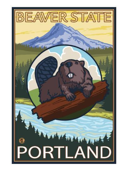 Beaver & Mt. Hood, Portland, Oregon-Lantern Press-Art Print