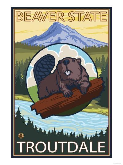 Beaver & Mt. Hood, Troutdale, Oregon-Lantern Press-Art Print