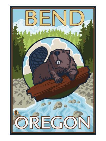 Beaver & River, Bend, Oregon-Lantern Press-Art Print