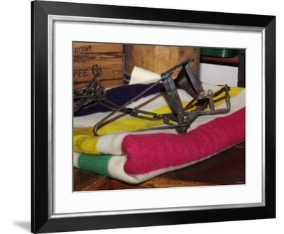Beaver Trap on a Hudson Bay Blanket in the Reconstructed Trading Post at Fort Laramie, Wyoming--Framed Photographic Print