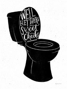 Bathroom Puns IV Black by Becky Thorns