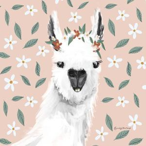 Delightful Alpacas I Floral Crop by Becky Thorns