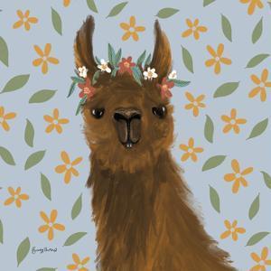 Delightful Alpacas II Floral Crop by Becky Thorns