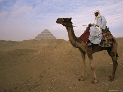 Bedouin Camel Rider in Front of Pyramid of Djoser, Egypt, North Africa-Staffan Widstrand-Photographic Print