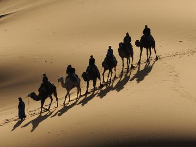 Bedouin Caravan Riding Through the Sahara Desert, Near Merzouga, Morocco, North Africa, Africa-Michael Runkel-Photographic Print