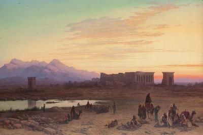 Bedouin Encampment before the Temple of Hathor at Dendera-Charles Vacher-Giclee Print
