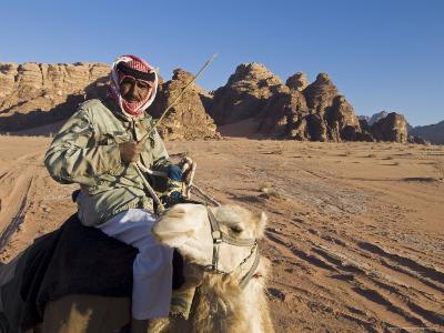 Bedouin on Camel in the Desert, Wadi Rum, Jordan, Middle East-Sergio Pitamitz-Photographic Print