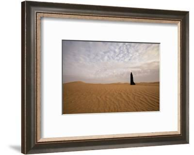 Bedouin woman in the desert. Abu Dhabi, United Arab Emirates.-Tom Norring-Framed Photographic Print