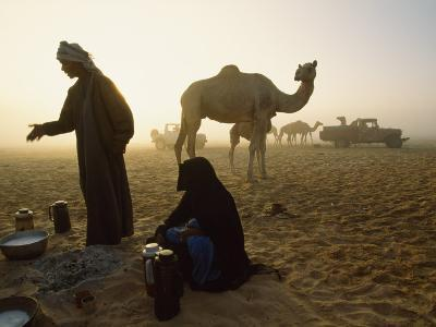 Bedouins Cooking on the Sand at their Camp at Sahamah, Oman-James L^ Stanfield-Photographic Print