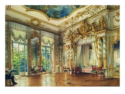 Bedroom of Tsar Alexander I in the Alexander Palace, Tsarskoye Selo, 1855-Luigi Premazzi-Giclee Print