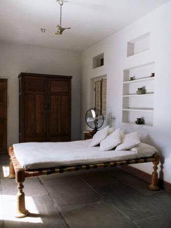 Bedroom with Traditional Low Slung Bed or Charpoy in a Home in Amber, Near Jaipur, India-John Henry Claude Wilson-Photographic Print