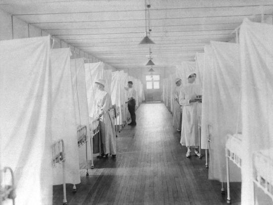 Beds Separated by Sheets to Isolate Patients During Spanish Flu Epidemic 1918-19--Photo