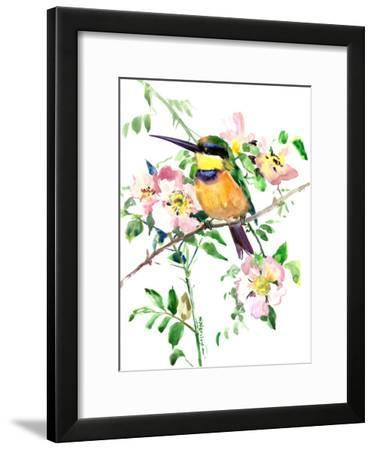 Bee Eater And Rose Hip-Suren Nersisyan-Framed Art Print