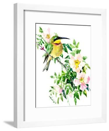 Bee Eater and Rosehip-Suren Nersisyan-Framed Art Print