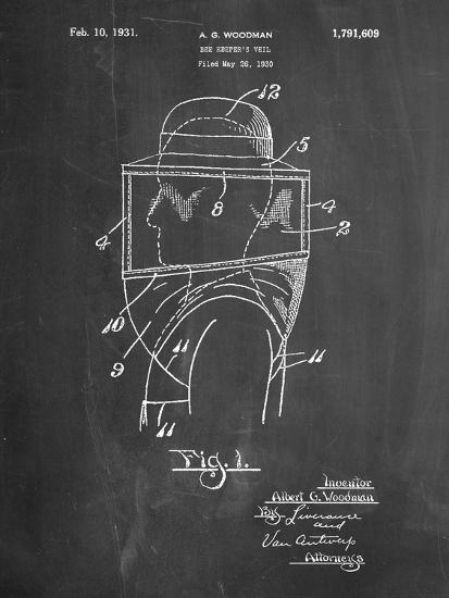 Bee Keeper Hat and Veil Patent-Cole Borders-Art Print