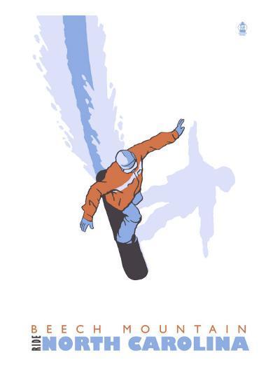 Beech Mountain, North Carolina, Stylized Snowboarder-Lantern Press-Art Print
