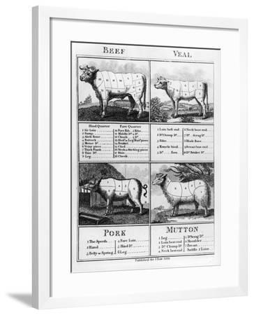 Beef, Veal, Pork, and Mutton Cuts, 1802--Framed Giclee Print