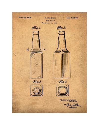 Beer Bottle 1934 Sepia-Bill Cannon-Giclee Print