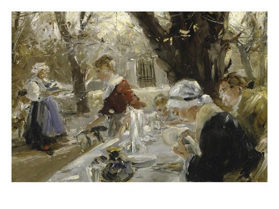 Beer Garden, about 1895-Arthur Langhammer-Giclee Print