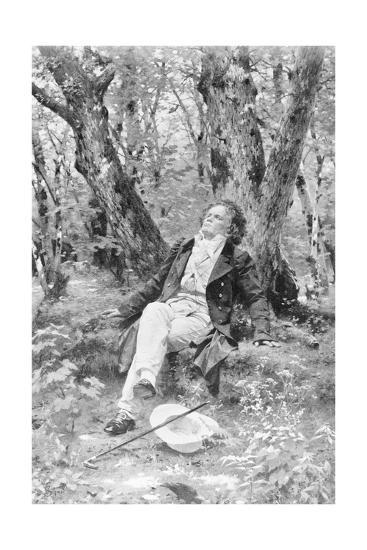 Beethoven Lounging in the Forest--Giclee Print