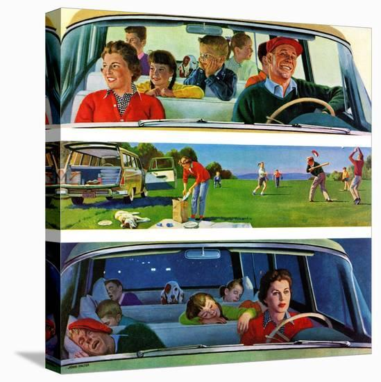 """""""Before, During & After Picnic"""", September 5, 1959-John Falter-Stretched Canvas Print"""