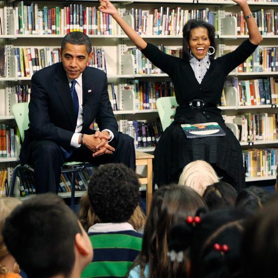 Before President Barack Obama and Wife Read to Second Graders at Capital City Public Charter School--Photographic Print