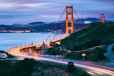 Before Sunrise On Approach North Side, Beautiful Golden Gate Bridge, San Francisco Cityscape-Vincent James-Photographic Print