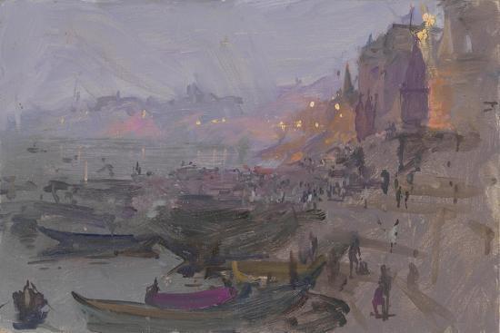 Before Sunrise on the Ghat, Varanasi, 2015-Peter Brown-Giclee Print
