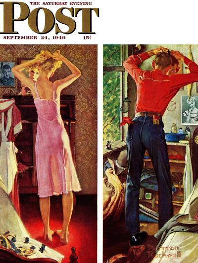 """""""Before the Date"""" Saturday Evening Post Cover, September 24,1949-Norman Rockwell-Giclee Print"""