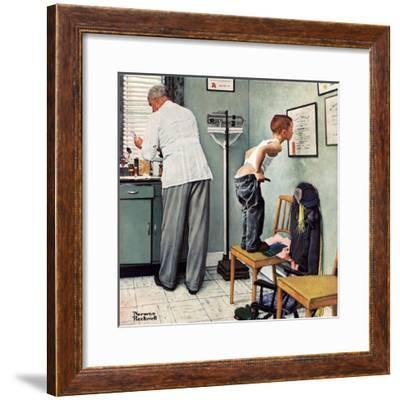 """""""Before the Shot"""" or """"At the Doctor's"""", March 15,1958-Norman Rockwell-Framed Giclee Print"""