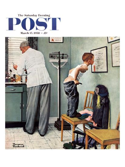 """""""Before the Shot"""" or """"At the Doctor's"""" Saturday Evening Post Cover, March 15,1958-Norman Rockwell-Giclee Print"""