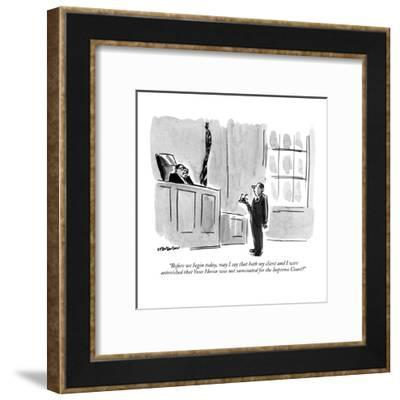 """""""Before we begin today, may I say that both my client and I were astonishe?"""" - New Yorker Cartoon-James Stevenson-Framed Premium Giclee Print"""