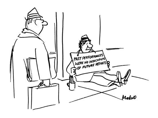 "Beggar holds a sign that reads, ""Past Performances were No Indication of F? - New Yorker Cartoon-Frank Modell-Premium Giclee Print"