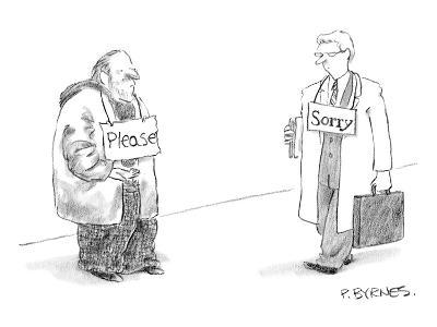 "Begging man has ""Please"" sign around his neck.  Passerby has ""Sorry"" sign ? - New Yorker Cartoon-Pat Byrnes-Premium Giclee Print"