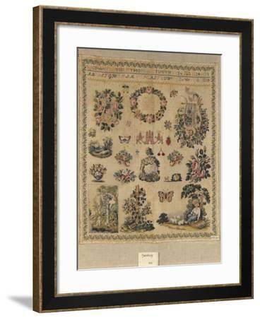 Beginner's Work, Embroidered in Cross-Stitch on Linen, with the Initials of the Maker, C.S.H.--Framed Giclee Print