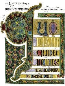 Beginning of the Book of Luke, Lindisfarne Gospels, 1100s