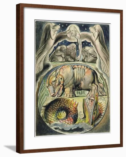 Behemoth and Leviathan, after William Blake (1757-1827) (Pen and Ink and W/C on Paper)-John Linnell-Framed Giclee Print