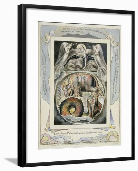 Behemoth and Leviathan from the Book of Job (Pl.15), C.1793 (Hand Tinted Line)-William Blake-Framed Giclee Print
