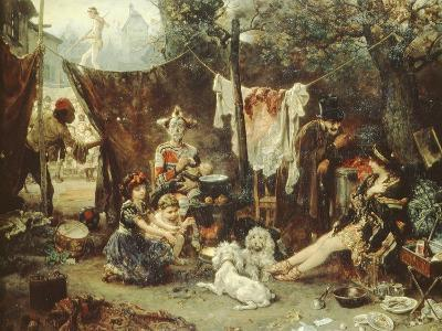 Behind the Curtain, Circus Entertainers Resting Between Acts, 1880-Ludwig Knaus-Giclee Print